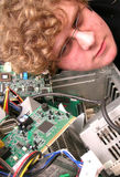 Geek with computer internals Stock Photos