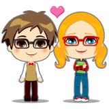 Geek Couple. Cute teen geek couple happy in shy love stock illustration