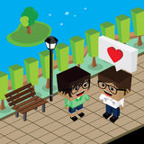 Geek couple lover in romance love. Couple lover in romance love theme  art illustration Stock Image