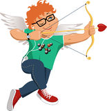 Geek Cupid. Geek redhead Cupid in jeans, tee-shirt with a picture of a molecule of alcohol, in a glasses, holding a bow and arrow stock illustration