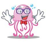 Geek cute jellyfish character cartoon. Vector illustration vector illustration
