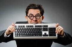 Geek di Comouter con il computer Immagini Stock