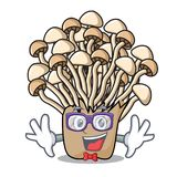 Geek enoki mushroom character cartoon. Vector illustration stock illustration