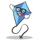 Geek face blue kite character cartoon Royalty Free Stock Photo