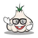 Geek face garlic cartoon character. Vector illustration Royalty Free Stock Images