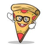 Geek face pizza character cartoon. Vector illustration Royalty Free Stock Image