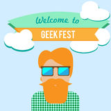 Geek fest flier. With hipster character in sunglasses stock illustration