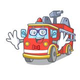 Geek fire truck character cartoon. Vector illustration Royalty Free Stock Images