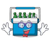 Geek freezer bag character cartoon. Vector illustration vector illustration