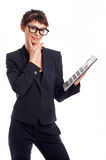 Geek Girl With Big Calculator Stock Images