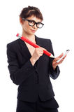 Geek Girl With Big Pencil. Royalty Free Stock Photography