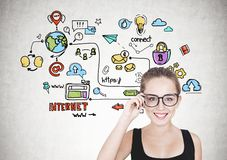 Geek girl in glasses, colorful internet icons royalty free stock image