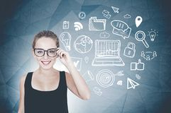 Geek girl in glasses, internet icons stock image