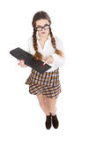 Geek girl with keyboard on hand Royalty Free Stock Photography
