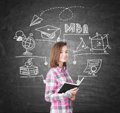 Geek girl and MBA sketch on chalkboard Royalty Free Stock Images