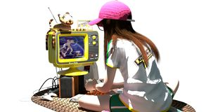 A geek girl playing vintage video games. Scene of A geek girl playing video games vector illustration