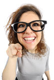 Geek girl pointing at camera Royalty Free Stock Photography
