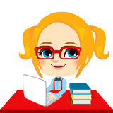 Geek Girl Student. Doing homework with laptop and books on red desk stock illustration