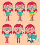 Geek Girl Wearing Glasses Set Royalty Free Stock Photography