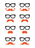 Geek glasses and ginger moustache or mustache  icons Royalty Free Stock Photography
