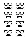 Geek glasses and moustache or mustache  icon Stock Photo