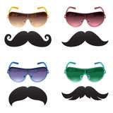 Geek glasses and moustache vector icons Royalty Free Stock Photography