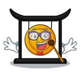 Geek golden gong in the cartoon room. Vector illustration royalty free illustration