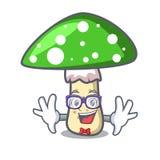 Geek green amanita mushroom character cartoon. Vector illustration stock illustration