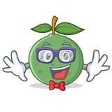 Geek guava character cartoon style. Vector illustration royalty free illustration