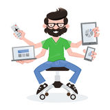 Geek guy with responsive devices Stock Image