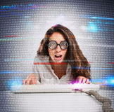 Geek and hacker woman Stock Image