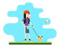 Geek Hipster Girl Lifestyle Dog Bird Sky Royalty Free Stock Photos