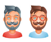 Geek Hipster Mustache Vintage Glasses Bangs Male Cute Avatar Heads Flat Design Template Vector Illustration Stock Photo