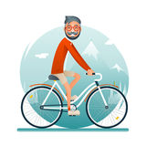 Geek Hipster Travel Lifestyle Concept Planning a Summer Vacation Tourism Journey Symbol Man Bike Forest Background Flat Royalty Free Stock Image