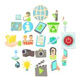 Geek icons set, cartoon style. Geek icons set. Cartoon set of 25 geek vector icons for web isolated on white background Royalty Free Stock Photos