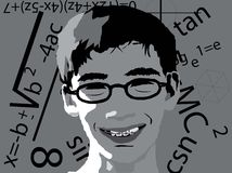 Geek illustration. A vector illustration of a geeky kid with math symbols in the background royalty free illustration