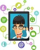 Geek ipad app voor nerd sociale media vector illustratie
