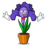Geek iris flower character cartoon. Vector illustration royalty free illustration