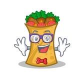 Geek kebab wrap character cartoon. Vector illustration vector illustration