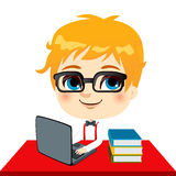 Geek Kid Student. Doing homework with laptop and books on desk Stock Photos