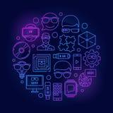 Geek line colorful illustration Stock Images