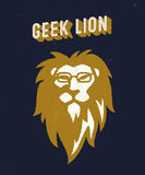 Geek lion t-shirt apparel design Royalty Free Stock Photos