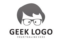 Geek logo. Logo design of geek boy Royalty Free Stock Photos