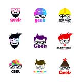 Geek logo set. Geek logo template. Geek head logo set vector. Geek logo set. Geek logo template. geek head logo. smart logo template. good logo for you vector illustration