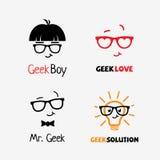 Geek logos. Set of geek logo design templates. Vector illustration stock illustration