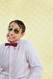 Geek Making Funny Face Royalty Free Stock Images