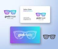 Geek Maze Abstract Vector Sign eller logo- och affärskortmall Högvärdig stationär realistisk åtlöje upp modernt Arkivfoton