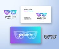 Geek Maze Abstract Vector Sign or Logo and Business Card Template. Premium Stationary Realistic Mock Up. Modern. Typography and Soft Shadows. Glasses with royalty free illustration
