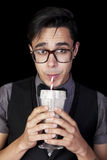 Geek With Milkshake Stock Image