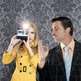 Geek mustache man reporter fashion girl Royalty Free Stock Photo